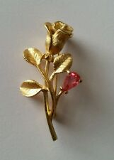 Vintage Avon Gold tone Rose Pin Brooch Pink Crystal Stone