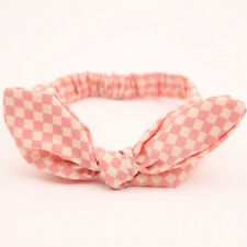 Kids Girls Pink Grid Rabbit Bow Headband Hairband Newborn Baby Turban Headwear