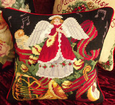 Vtg. Needlepoint Pillow Cushion~Xmas Angel & Instrument