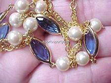Vintage Necklace-Swarovski Crystal Elements-Navettes-Bead Strand -Blu Gold Plate