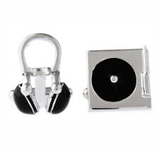 Disc Jockey Musical Headphone & Turntable DJ Cufflinks