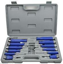 12 PC HEAVY DUTY ENGINEERS MECHANICS SCREWDRIVER SET HEX BOLSTERS TOP CASE KEY
