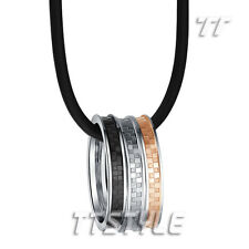 TT 316L S.Steel Silver Rose Black Three Lucky Ring Pendant Necklace (NP257)