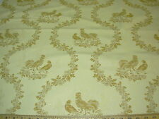 ~3 YDS~CHICKENS ROOSTERS EMBROIDERED~ELEGANT UPHOLSTERY FABRIC~
