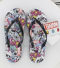 New Women's Marvel Comics Flip Flops - The Avengers - Black - Size 6