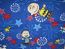 PEANUTS GANG PATRIOTIC CHARLIE BROWN LUCY SNOOPY LINUS 100% Cotton Fabric OOP FQ