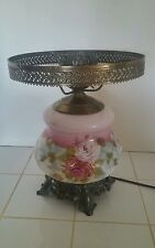 Vintage Antique Hand Painted Floral Roses w/ Gold Glass Hurricane Lamp Electric