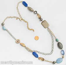 Chico's Signed Necklace Long Silver & Gold Tone Chains Blue Gray Amber Color