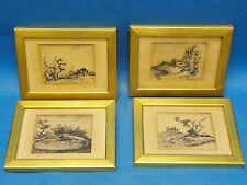 4 set of ESTHER HIRSCH PEN & INK WATER COLOR  LANDSCAPE DRAWING w/ GILDED FRAME