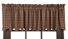 New Country Primitive Log Cabin BROWN TAN PLAID VALANCE Scalloped Window Curtain