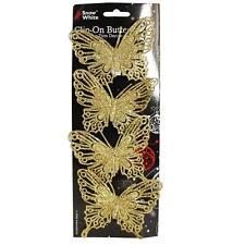 Christmas - 4 Pack Clip on Glitter Butterfly Tree Decorations - Gold