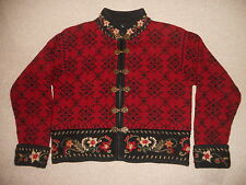 Womens Sweater/Jacket-ICELANDIC DESIGN-red Nordic wool clasps lined cardigan-S