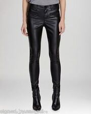 Karen Millen Skinny Zip Faux Leather Panel Slim Stretch Black Trousers 12 40