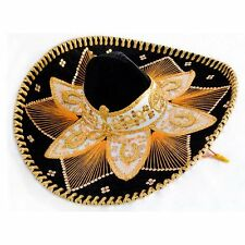 "Authentic Mexican Mariachi Sombrero Charro Hat Adult 23"" Black and Gold Talavera"