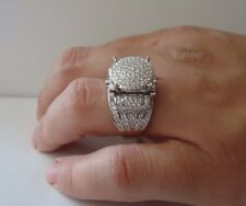 ART DECO DESIGN LADIES RING W/ 7 CT LAB DIAMONDS / SZ 9 / 925 STERLING SILVER