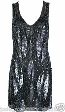 Fashion Union UK 12 Sequin Beaded Art Deco Flapper Dress 1920s Embellished New