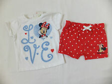 BABY GIRL CUTE DISNEY MINNIE MOUSE 2 PC SUMMER T-SHIRT & SHORTS 3-6 MONTHS NEW