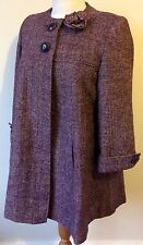 NEW Papaya Size 14 Maroon & Shimmering Gold Long Sleeve Lined Wool Blend Coat