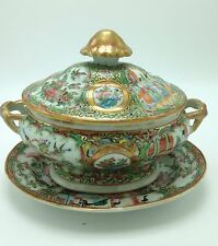 Fine Antique 19th C CHINESE EXPORT ROSE MEDALLION SAUCE TUREEN W/ UNDERTRAY