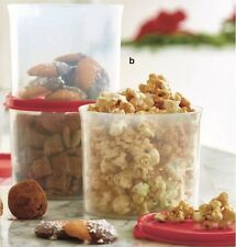 Tupperware Set of 4 Mini Canisters Holiday Red Seals $24 *Brand NEW*