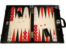 "Wycliffe Brothers 21"" Tournament Backgammon Set - Black Croco Board, Cream Field"