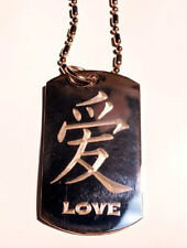 Chinese Calligraphy Character Love Symbol Dog Tag Metal Chain Necklace Jewelry