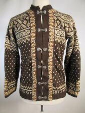 VTG Snow Christmas 100% Wool Sweater Cardigan Pewter Clasps Made Norway 08052
