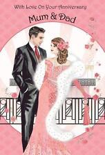Art Deco ~ Mamá & Dad con amor en su tarjeta de felicitación de aniversario ~ ~ Nuevo
