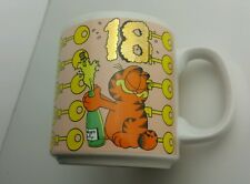 Vintage Garfield 18th Birthday coffee mug Jim Davis keys champagne celebration