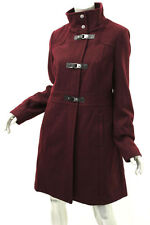 KENNETH COLE Rum Raisin 3 Buckle Stand Collar Wool Blend Coat 8 $325