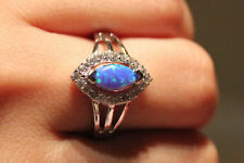 fire opal Cz ring gems silver jewelry Sz 6.5 7 7.5 8 wedding engagement band