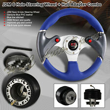 320mm Blue PVC Leather Red Button 6-Hole Steering Wheel + For Acura Rsx Hub