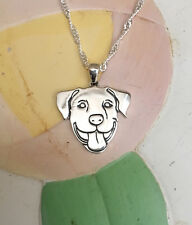 Smiling Pit Bull Sterling SIlver Charm & Necklace - New - FREE SHIPPING