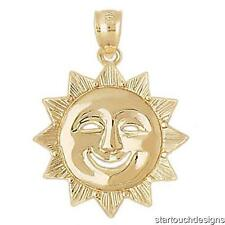 New 14k Yellow Gold Sun Charm Pendant