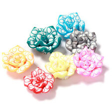 40pcs Assorted Colorful Lotus Flower Charms FIMO Polymer Clay Spacer Bead HOT BS