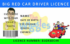 The Wiggles Big Red Car Driver Licence CUSTOM. FREE SHIPPING + HOLOGRAPHIC LAYER