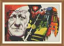 dr who and dalek (pertwee) CROSS STITCH CHART 12.0 x 8.0Inches