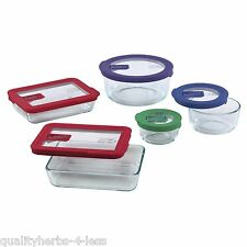 Pyrex 10PC Food Storage Set Clear Glassware No-Leak Lids Bowls QT Casseroles