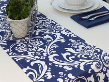 Table Runner Topper Navy Blue Damask for Holiday Wedding Birthday Shower Event