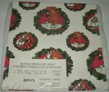"""2 Sheets Jerry's 27-1/4"""" x 19-3/4"""" Skating Teddy Bears Christmas Gift Wrap"""
