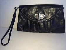 BRIGHTON Diva Daisy Black Leather Charcoal Stitch Silver Buckle Clutch Wristlet