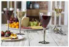 10 Disposable Plastic Wine Glasses with Silver Stem Christmas Party