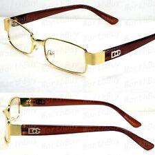 New Mens Womens DG Eyewear Clear Lens Frame Glasses Designer Fashion Nerd Gold