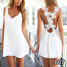 Women Lady White Summer Mini Dress Casual Evening Party Coacktail Beach Sundress