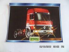 CARTE FICHE CAMION TRACTEUR CABINE AVANCEE RENAULT R 420 1988
