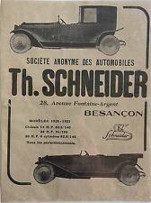 Automobiles Th Schneider Theophile French Ad Voiture Car Automobile 1920