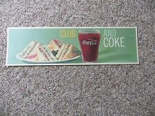 ORIGINAL VTG Drink Coca-Cola, club sandwich and coke plastic coated display sign