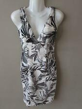 JANE NORMAN Ladies White Black Grey Floral Cotton Blend Pencil Dress Size 8 BNWT