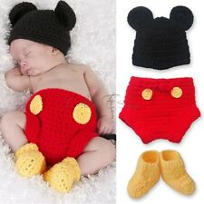 Mickey Mouse Baby Boys Costume Crochet Knit 3pcs Beanie Outfit Photo Props 6-12M