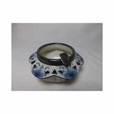 Vintage Delfts Holland Blue Ashtray floral with metal rest Marked